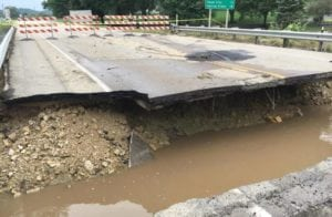 The Highway 14 bridge to Black Earth was washed away during flooding in August 2018.