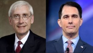 Democrat Tony Evers and Republican Scott Walker are running for Wisconsin governor in 2018.