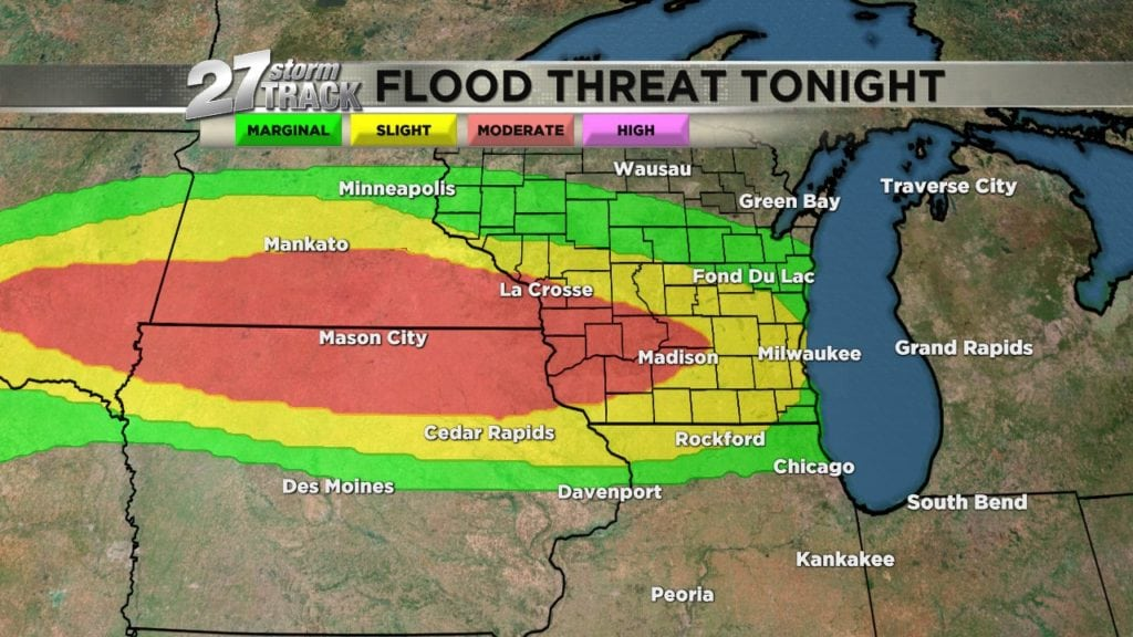 Flash flood threat returns tonight across southern Wisconsin