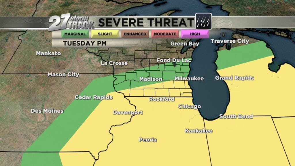 Severe storms possible Tuesday afternoon and evening