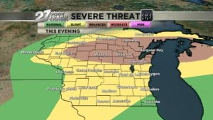 Slight level 2 risk for severe storms this evening in S WI