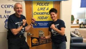 Madison Police Chief Mike Koval and officer Jodi Nelson