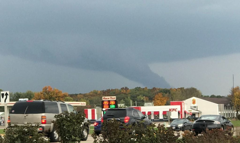A funnel cloud appeared briefly near the Aldi in Portage this afternoon. Photo by Amanda Bortz.