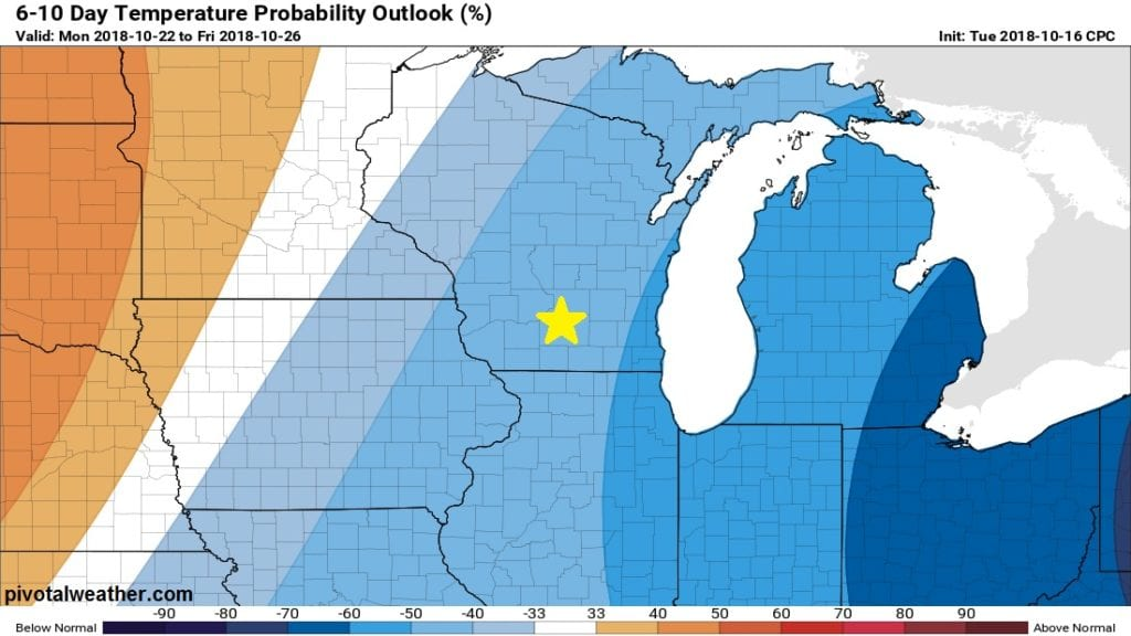 Overall below average temps expected the rest of October