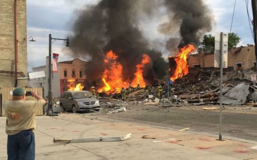 Sun Prairie explosion, July 10, 2018. David Johnson/WKOW photo
