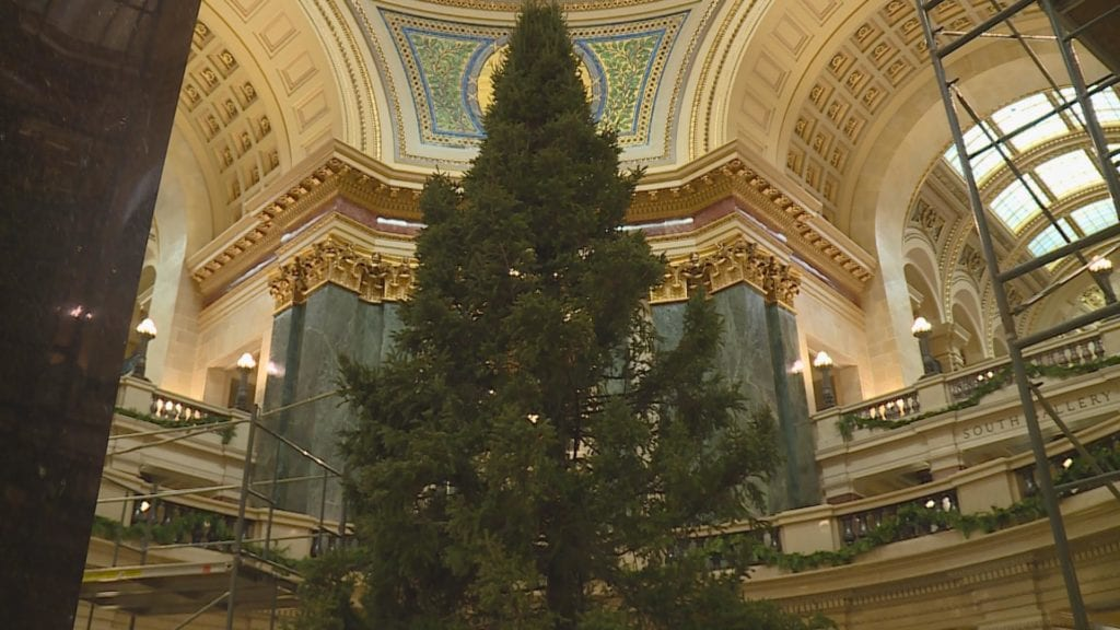 Every year, students from across Wisconsin make ornaments and send them to  Madison to decorate the tree for the holidays. The theme this year is  America's ... - State Capitol Christmas Tree Now Up In The Rotunda - WKOW