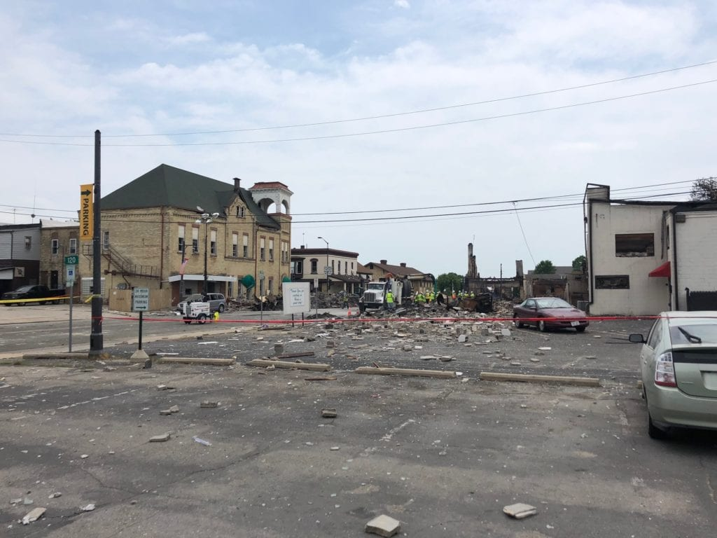 Downtown Sun Prairie following the July 10 explosion. David Johnson/WKOW photo