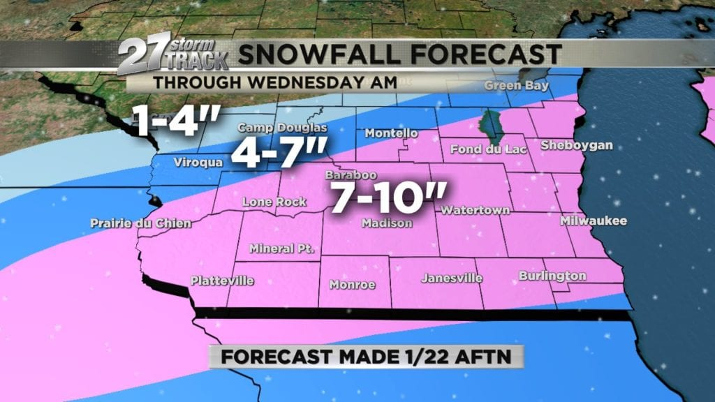 Snow storm moves into southern Wisconsin this evening