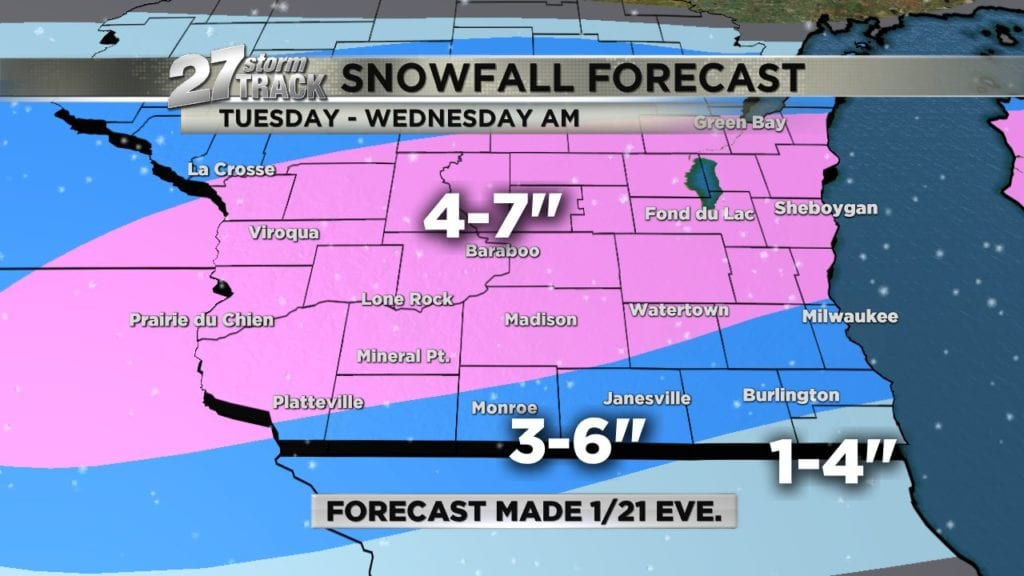 Snow storm moves into southern Wisconsin on Tuesday