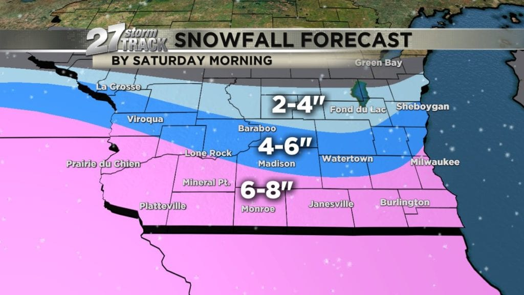 Several inches of snow through Saturday morning
