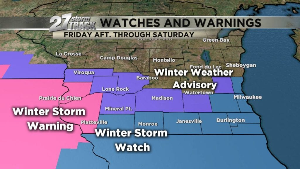 Winter storm warning is in effect for parts of Southern Wisconsin
