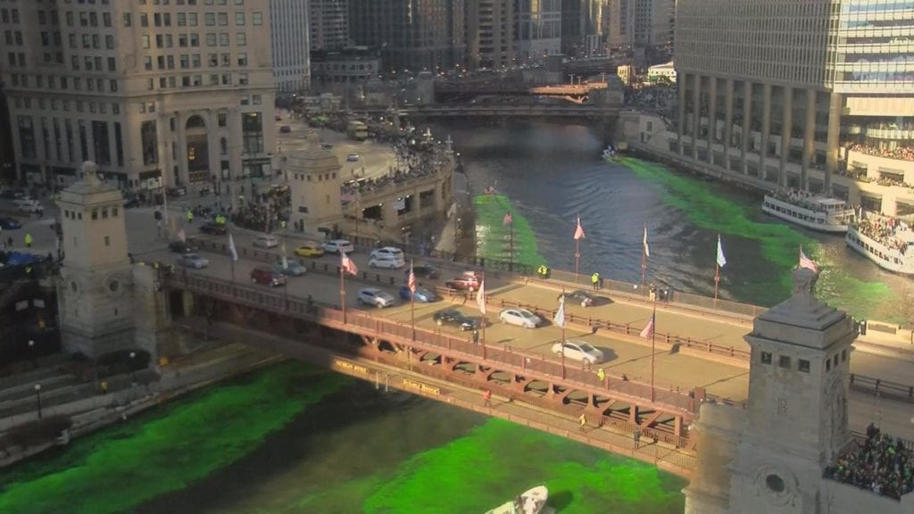 Chicago River Dyed Green For St Patrick S Day Wkow