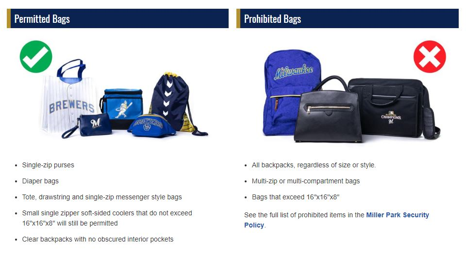 Brewers will ban backpacks at Miller Park in 2020 - WKOW