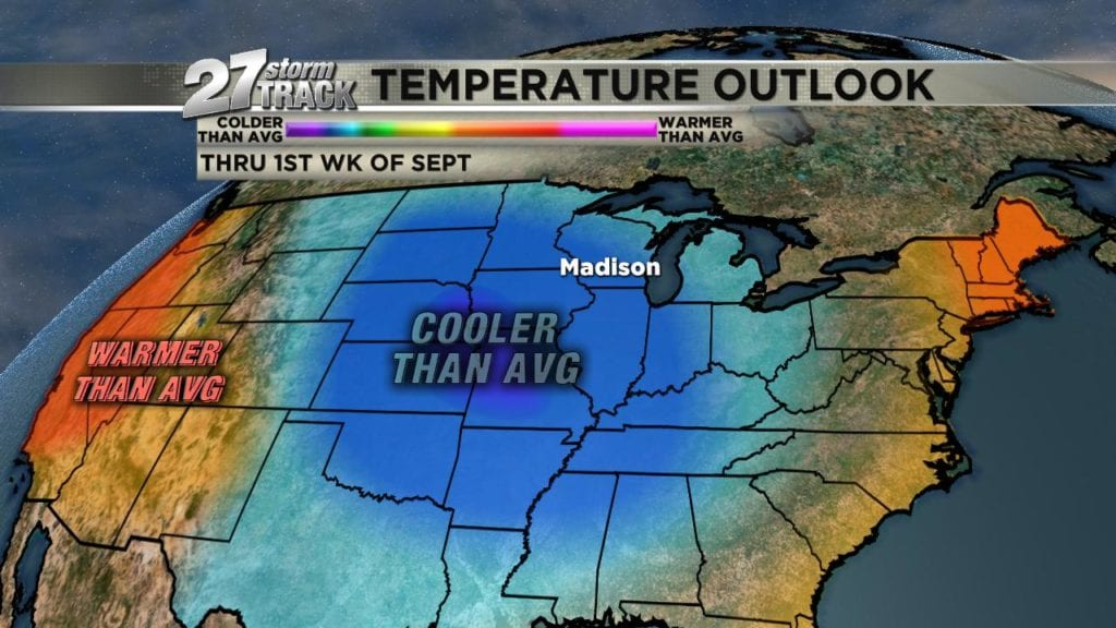 Below average temp trend feeling more like early to mid September