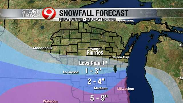 Light snow expected south of Wausau tonight