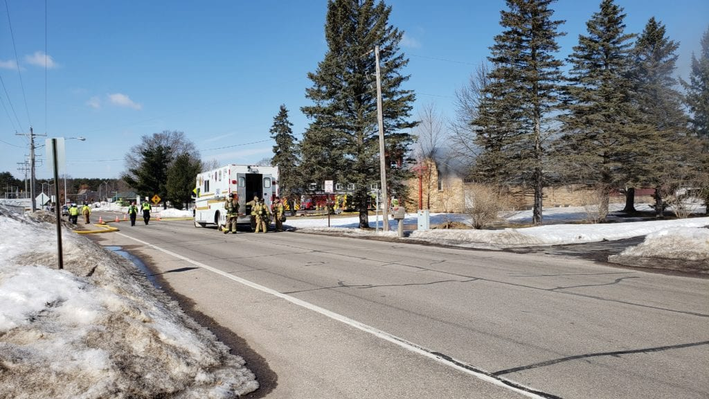 Fire crew responding to fire in Plover