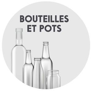 récupération du verre, bouteilles et pots