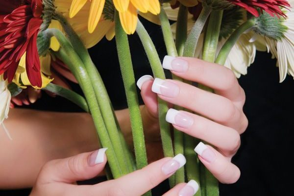 Nail image with flowers