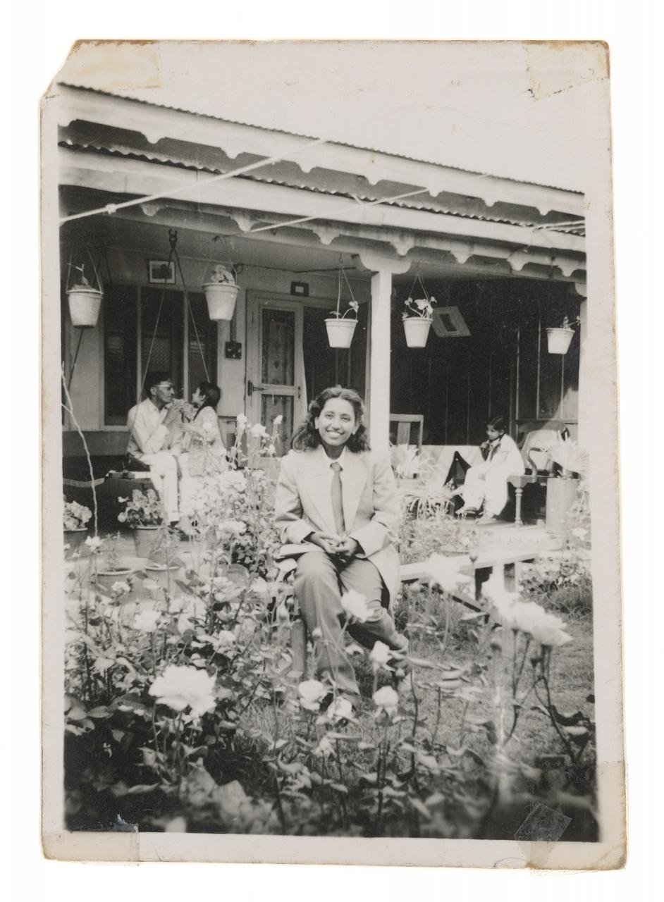 Zinnia Naqvi, Nani in Garden, 1948, 2017. Inkjet print, 48x35 in. Courtesy of the artist.