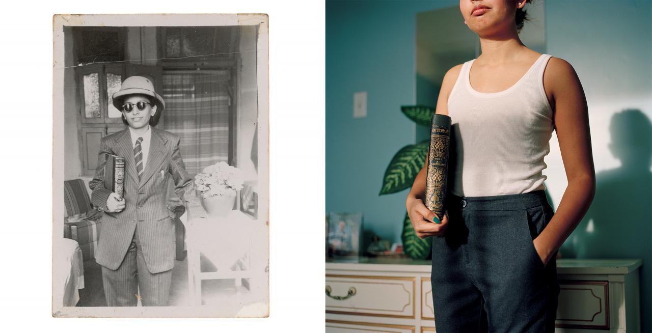 Zinnia Naqvi, Nani in Safari Hat, 1948 and Self-Portrait as Nani, 2017, 2017. Inkjet print, 38 x 28 ; 26 x 25. Courtesy of the artist.