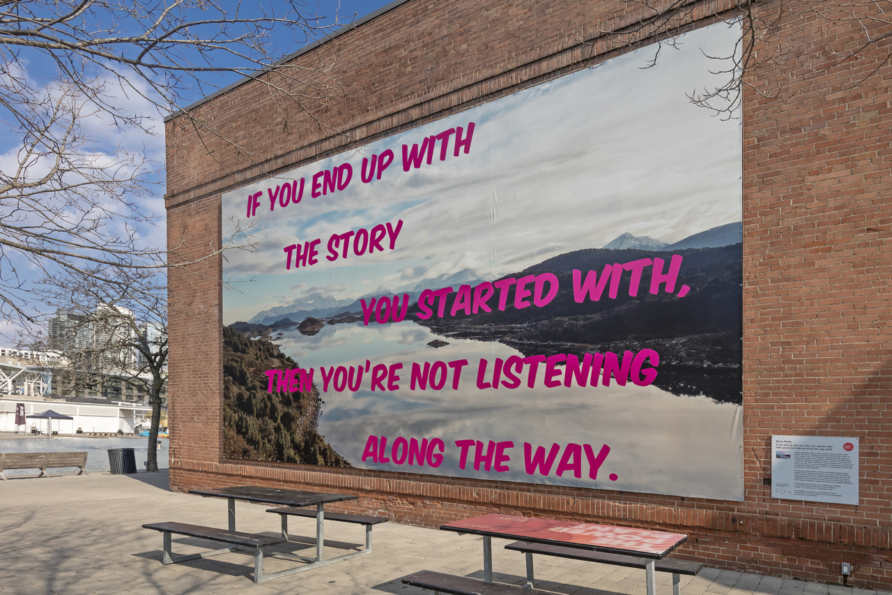 Mario Pfeifer, If you end up with the story you started with, then you're not listening along the way, Installation at The Power Plant Contemporary Art Gallery, south façade, Toronto, 2019. Photo: Toni Hafkenscheid. Courtesy CONTACT, the artist and KOW, Berlin.