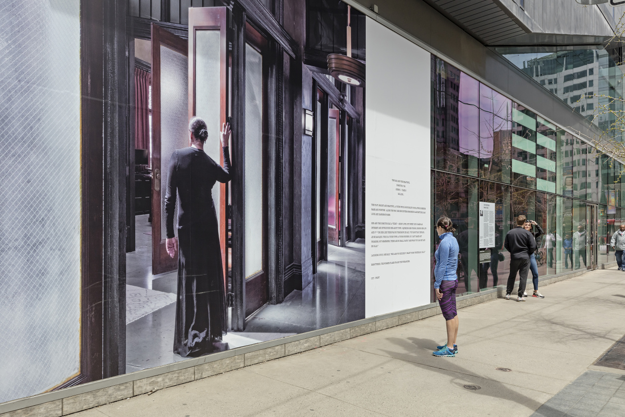 Carrie Mae Weems, Scenes & Take (Director's Cut and The Bad and the Beautiful), 2016., Public Installation at TIFF Bell Lightbox, windows at King St. W. and Widmer St., Toronto, May 1–31, 2019. Photo: Toni Hafkenscheid. © Scotiabank CONTACT Photography Festival. Courtesy the artist and Jack Shainman Gallery, New York, NY.