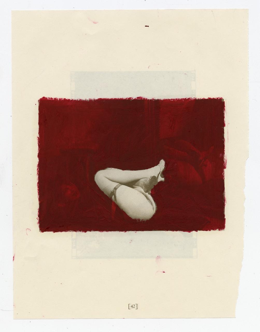 Sondra Meszaros, strange spot, 2018 - 2019. Oil pastel on found book page, 12.25 x 14.75.