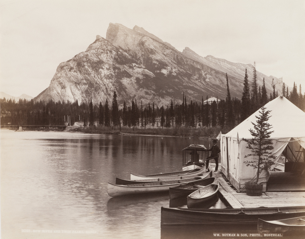 William Notman and Son, Bow River and Twin Peaks, Banff (Alberta), 1889. Albumen silver print. Canadian Centre for Architecture.