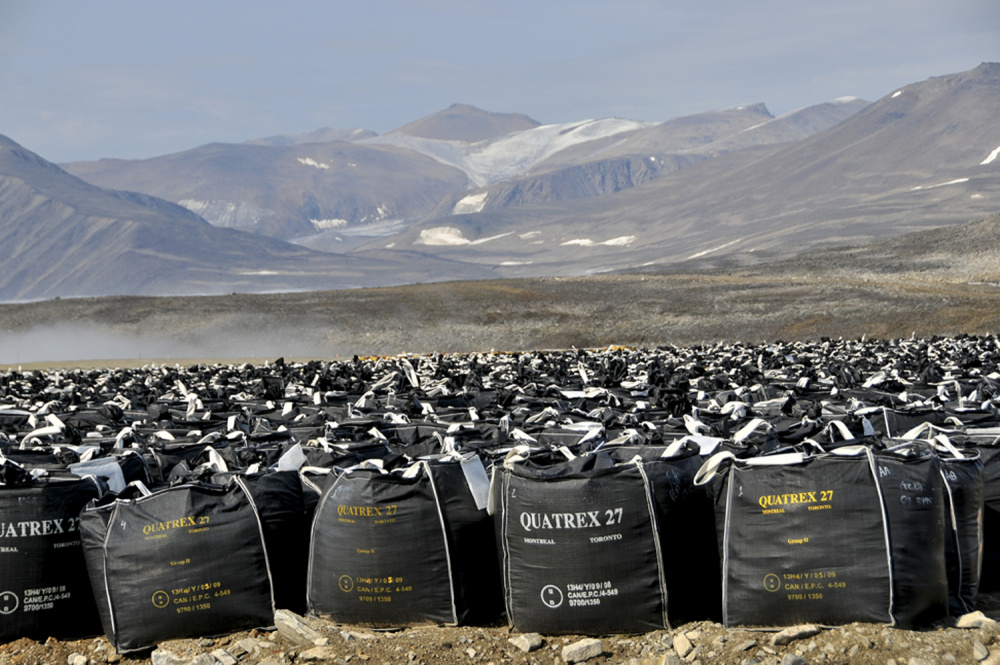 Margo Pfeiff, Contaminated soil bags at Lower Base, Cape Dyer, 2013. © Margo Pfeiff