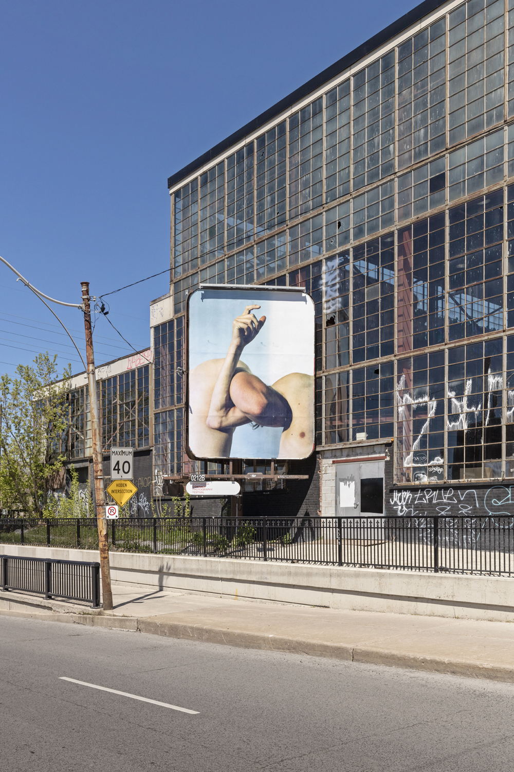 Steven Beckly, New Romantics, installation view of 4 billboards at Dovercourt Rd and Dupont St. 2017. Photo by Toni Hafkenscheid.