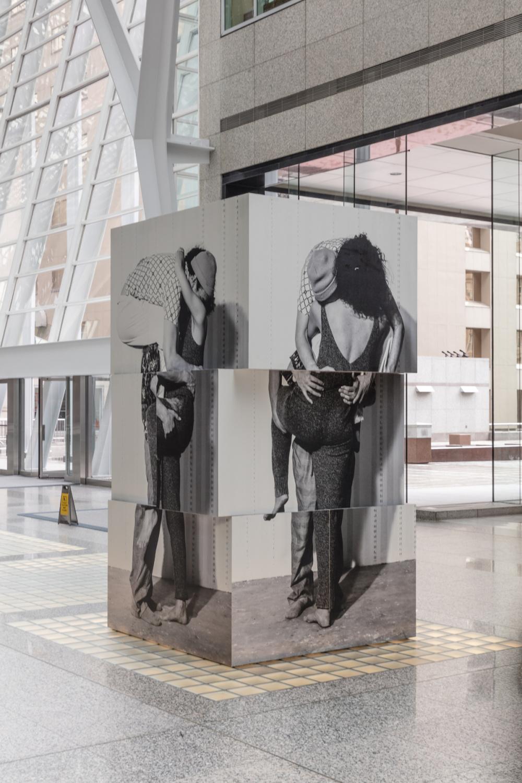 Valérie Blass, Nous ne somme pas des héros, Installation view at Brookfield Place, 2017. Photo by Toni Hafkenscheid.