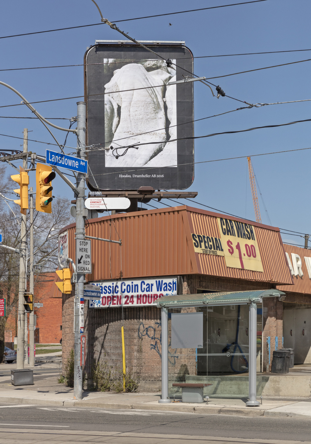 Seth Fluker, Blueberry Hill, installation view of 6 billboards in Toronto. Lansdowne Ave at College and Dundas St W. 2017. Photo by Toni Hafkenscheid.