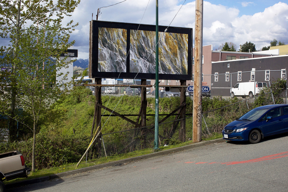 Seth Fluker, Blueberry Hill, installation view of billboards in Vancouver, Clark Dr at East 4 Ave & East 2 Ave. 2017.