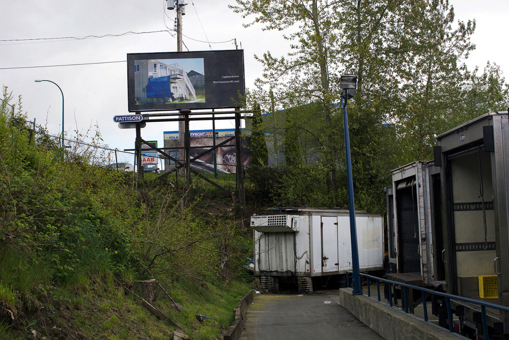 Seth Fluker, Blueberry Hill, installation view of billboards in Vancouver. Clark Dr at East 4 Ave & East 2 Ave. 2017.