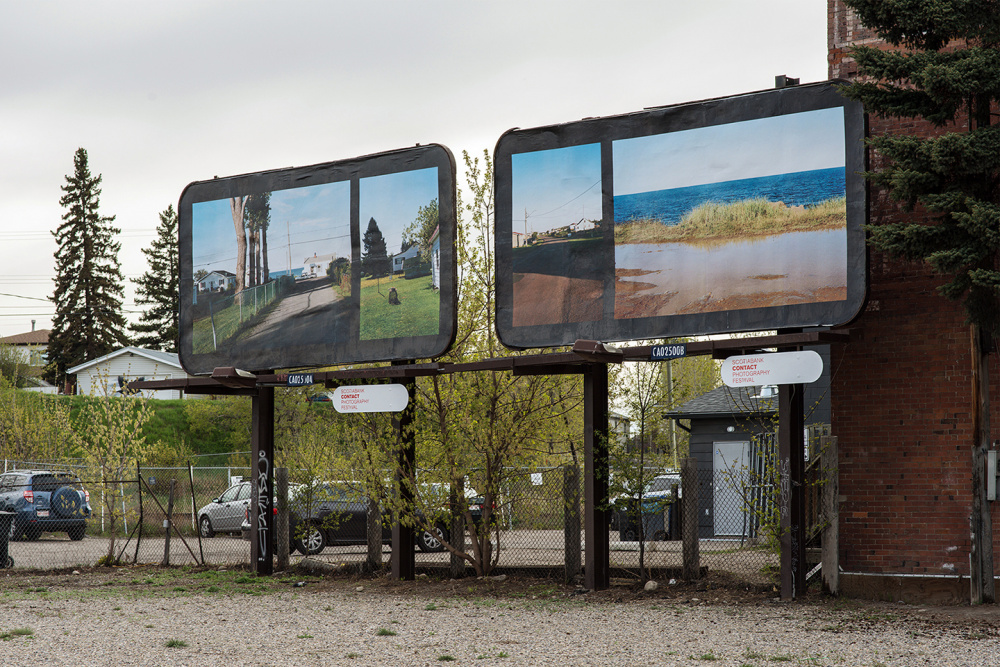 Seth Fluker, Blueberry Hill, installation view of billboards in Calgary. 9 Ave at 9 St SE & 10 St SE. 2017.