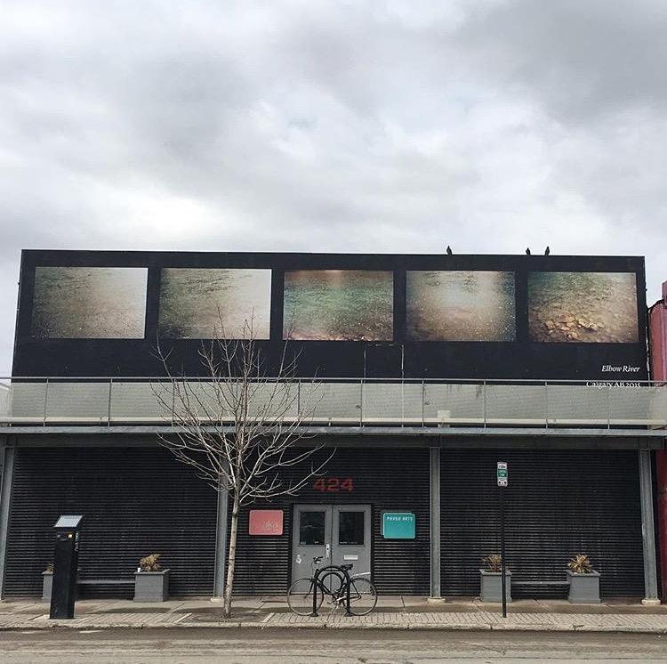 Seth Fluker, Blueberry Hill, installation view of Elbow River at AKA Artist Run, Saskatoon. 424 - 20 St W, south facade. 2017