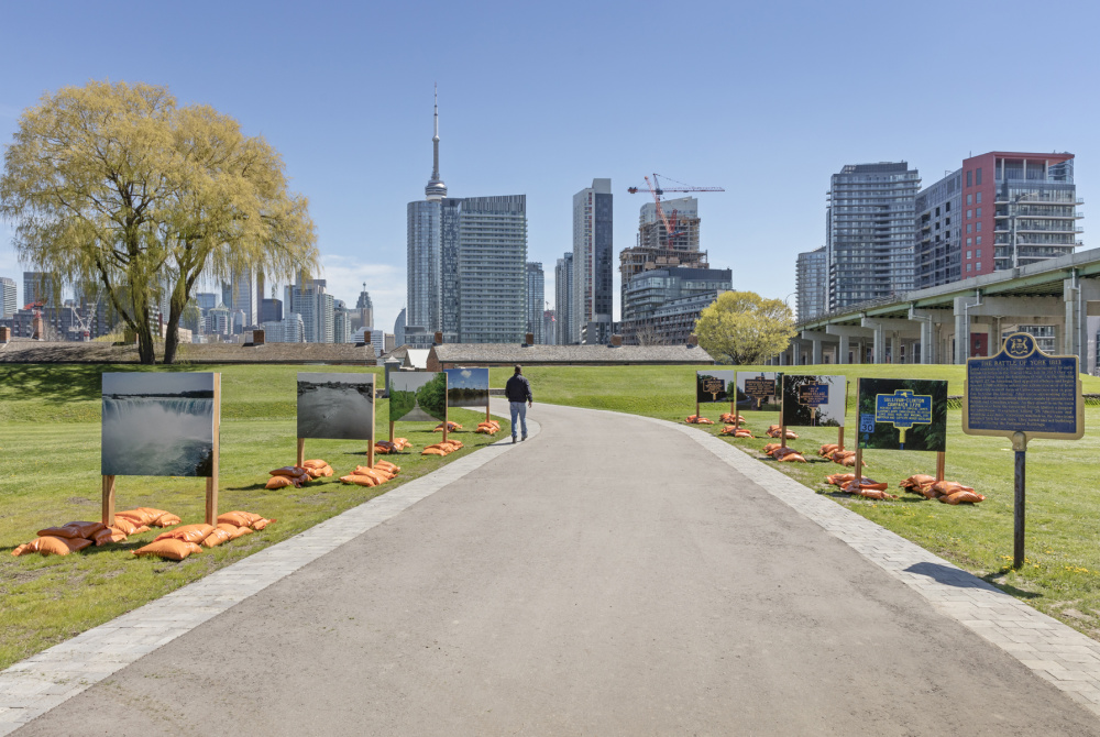Shelley Niro, Battlefields of my Ancestors, Installation view at Fort York National Historic Site, 2017. Photo by Toni Hafkenscheid.