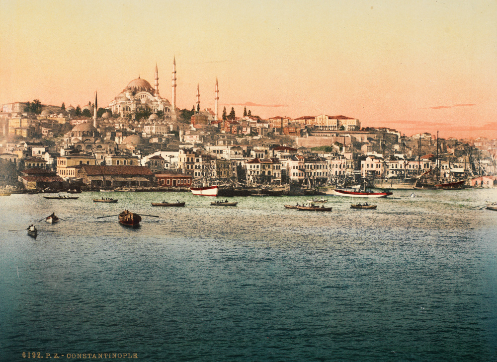 Photoglob Zurich, Golden Horn and Suleymaniye Mosque, c. 1890. Photochrom print from the presentation album