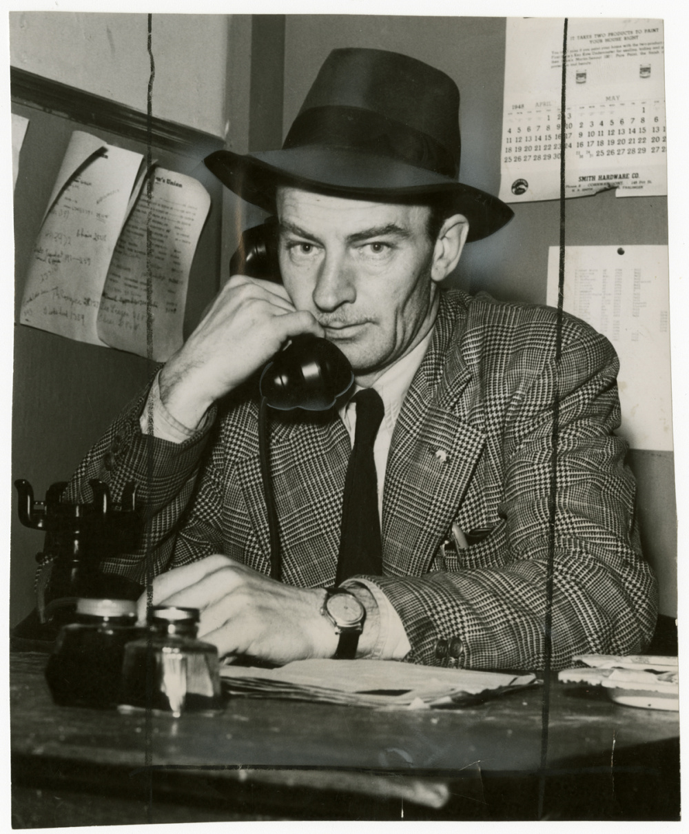 Unidentified photographer, Milton 'Buzz' Nuttall, Canadian Seamen's Union business agent, in Moose Hall, Cornwall, Ontario, 1948. Gelatin silver print, 1948. Gift of The Globe and Mail newspaper to the Canadian Photography Institute of the National Gallery of Canada.