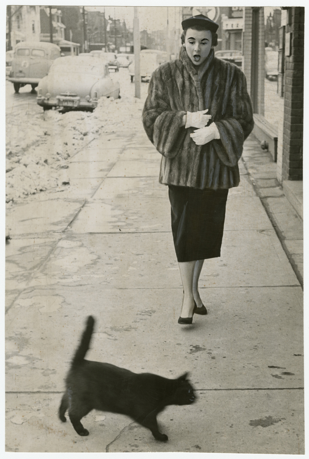 Unidentified photographer, To have a black cat cross your path at any time is unfortunate, but on Friday the 13th – oh, my! – which is just what Jean Craig said, 1953. Gelatin silver print, 9 x 6