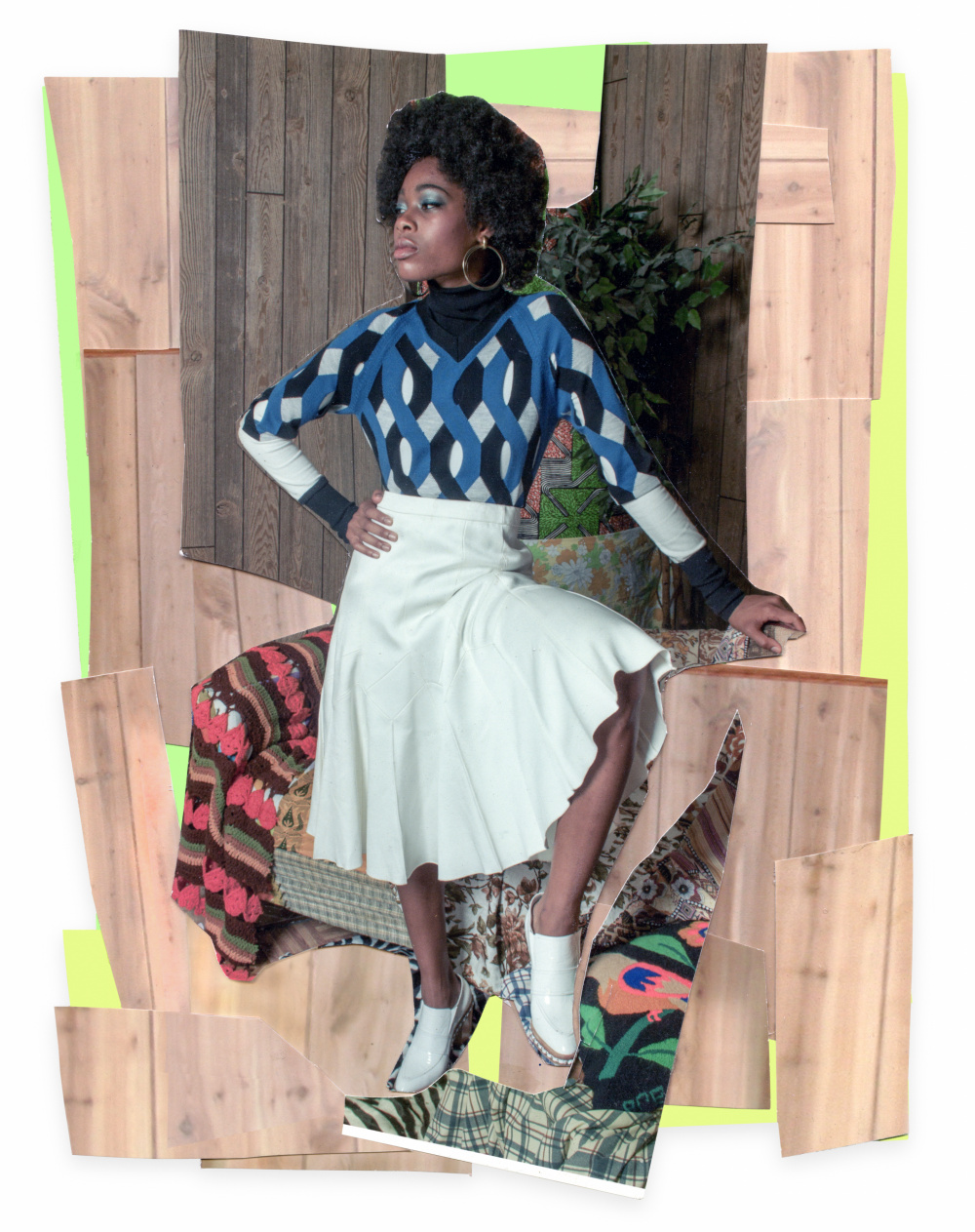 Mickalene Thomas, Liz with White Skirt and White Shoes, 2015. Colour photograph and paper collage on archival board, original artwork dimensions 11.25 x 8.5