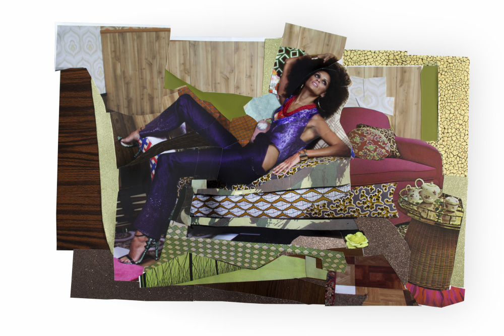 Mickalene Thomas, Racquel Reclining Wearing Purple Jumpsuit #1, 2014. Colour photograph and paper collage on archival board, original artwork dimensions 28 x 41.5