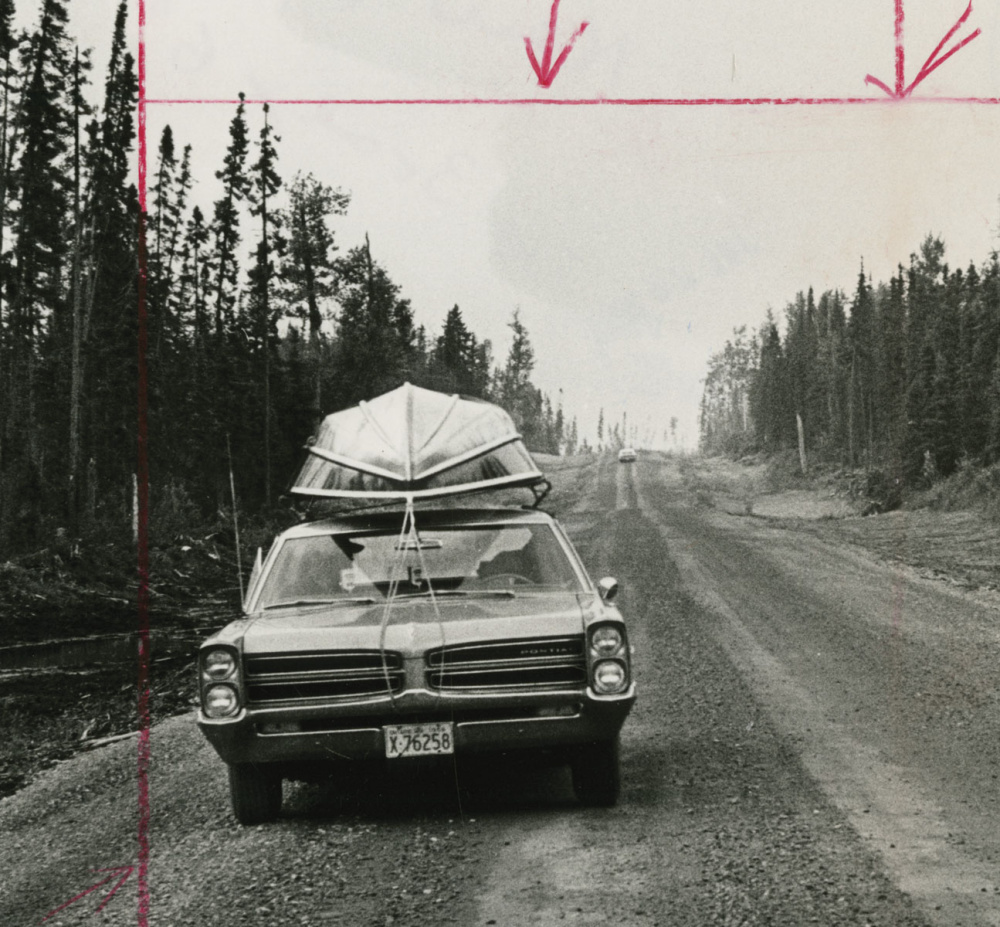 Unidentified Photographer, Along the new Highway, which runs from Smooth Rock Falls to Fraserdale, Ontario, there's no sign of human habitation apart from one empty lumber camp, (detail), c.1966. Gelatin Silver Print, 23.4 x 17.5cm. Gift of The Globe and Mail Newspaper to the Canadian