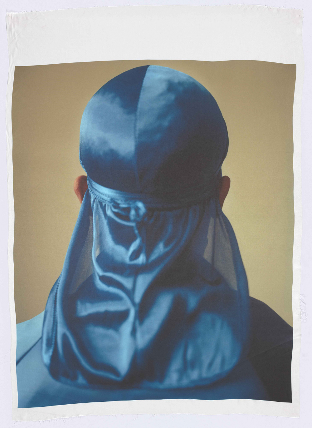 John Edmonds, Untitled (Du-Rag 3), 2017. Archival pigment print on Japanese silk, 150.5 x 107.5 cm. Art Gallery of Ontario, Purchased with the assistance of Art Toronto 2017 Opening Night Preview, 2017. © John Edmonds 2017/42.