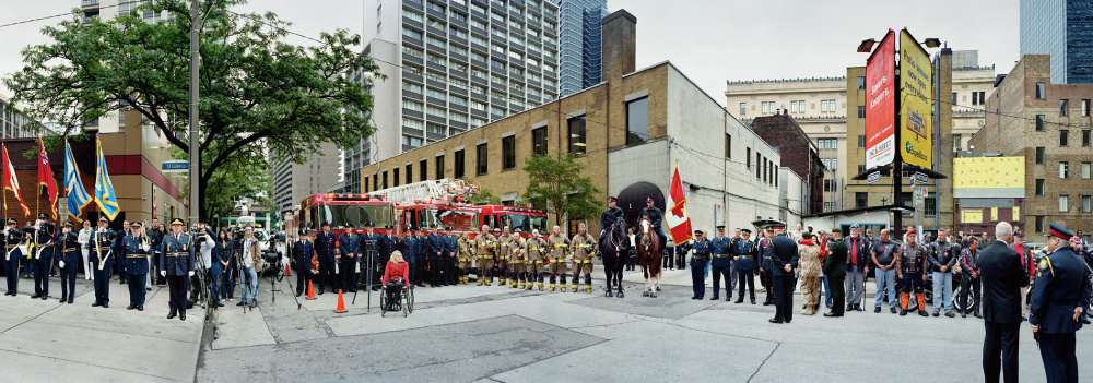 Scott McFarland, Corner of the Courageous, Repatriation Ceremony for Sergeant Martin Goudreault, Grenville St., Toronto, Ontario, June 9th, 2010 Courtesy of Monte Clark Gallery