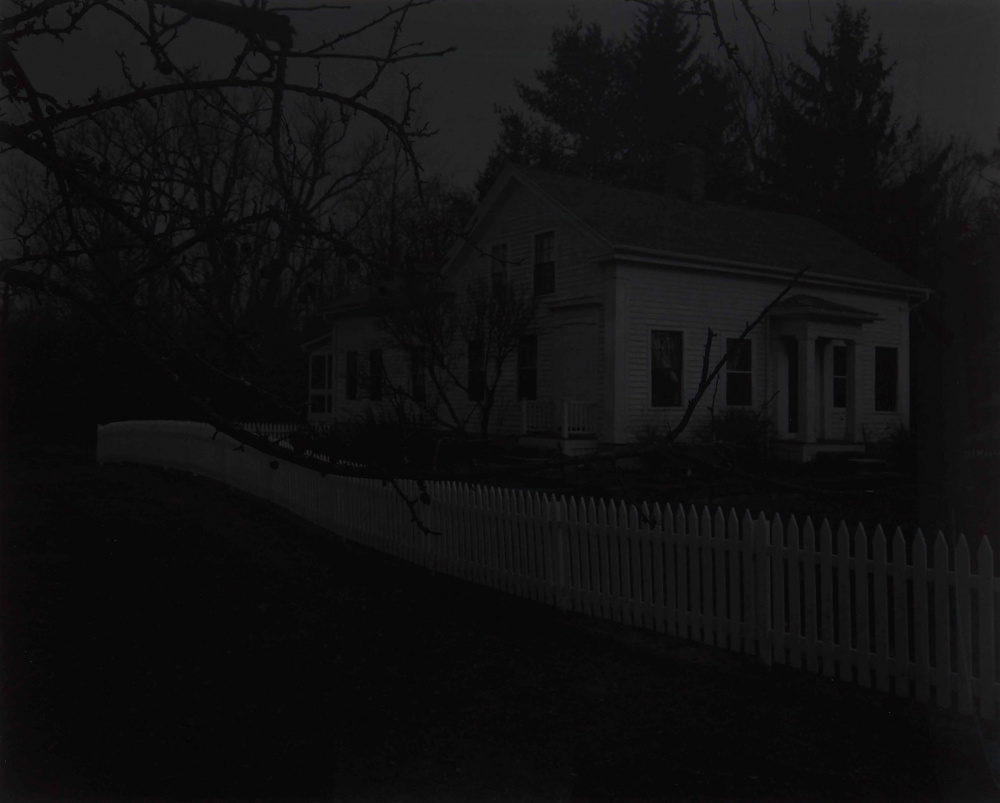 Dawoud Bey, Untitled #20 (Farmhouse and Picket Fence II), 2017. From the series Night Coming Tenderly, Black (2016–2017). Gelatin silver print, 121.9 x 149.9 cm. Art Gallery of Ontario, Purchase, with funds from the Photography Curatorial Committee, 2019. © Dawoud Bey 2019/2251.