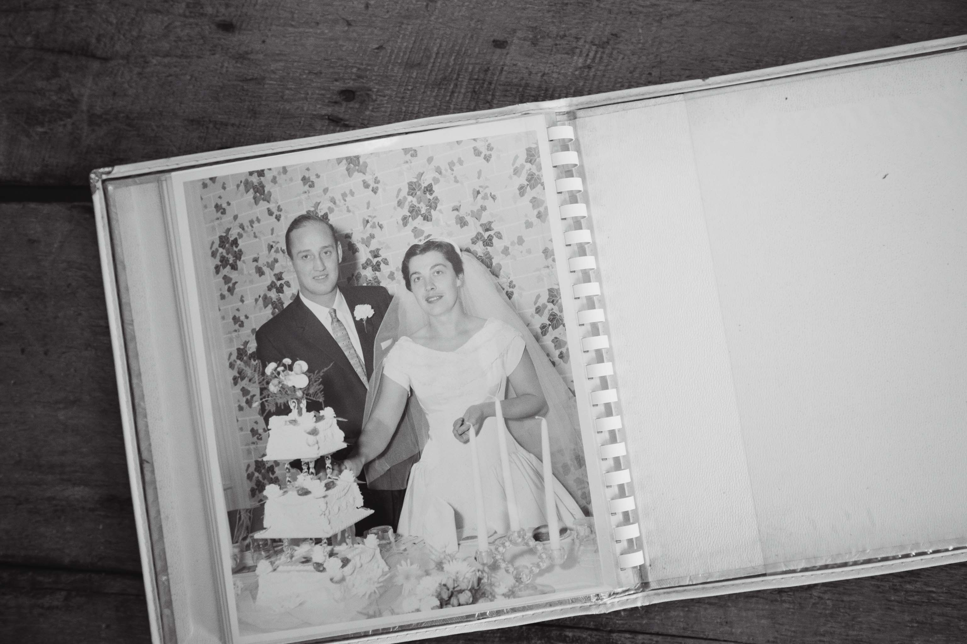 vintage wedding photography album