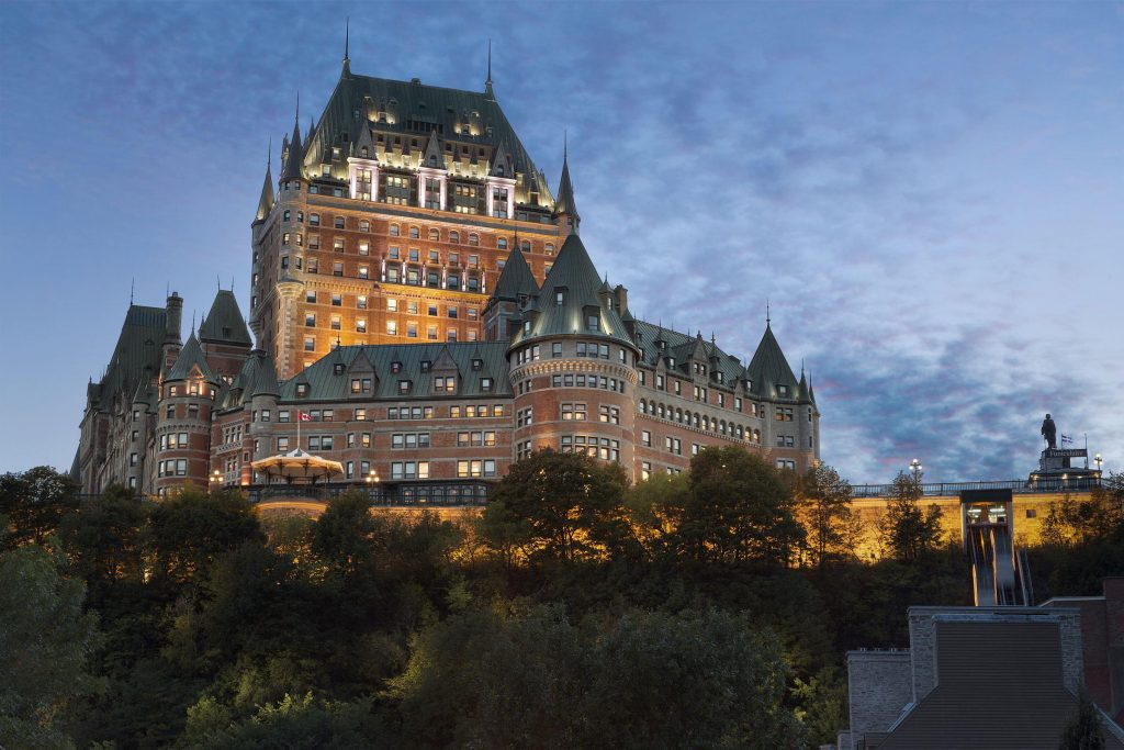 Evening shot of the Château Frontenac on a hill
