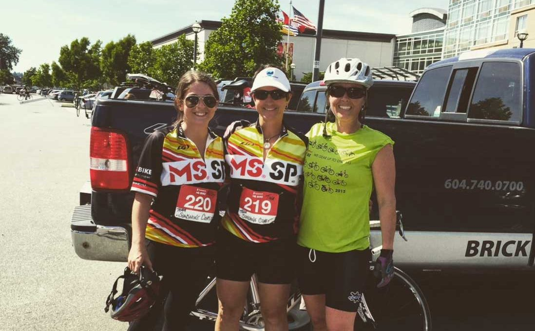 Becky with her team at MS Bike.