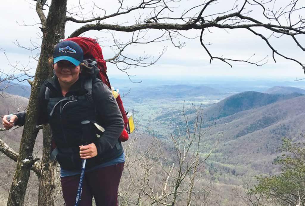 Leslie hiking the Appalachian Trail